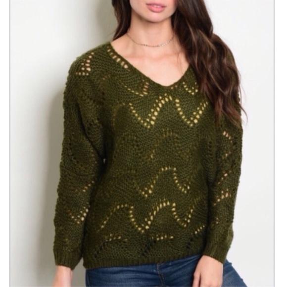 Sweaters - Olive Oversized V-Neck Knit Sweater